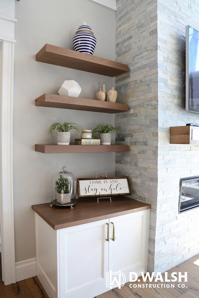Stone Fireplace Open Shelves